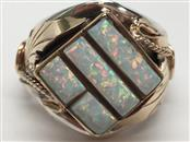 GENT'S FASHION OPAL RING 14K GOLD & SILVER